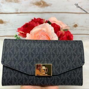 Michael Kors Cassie large trifold wallet black